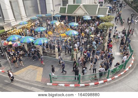 BANGKOKTHAILAND - DEC 31 : view of Unidentified crowd in Erawan shrine at Ratchaprasong Junction while new year festival on december 31 2016 Thailand.