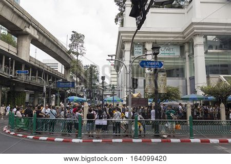 BANGKOKTHAILAND - DEC 31 : view of Erawan shrine from road outside at Ratchaprasong Junction while new year festival on december 31 2016 Thailand.