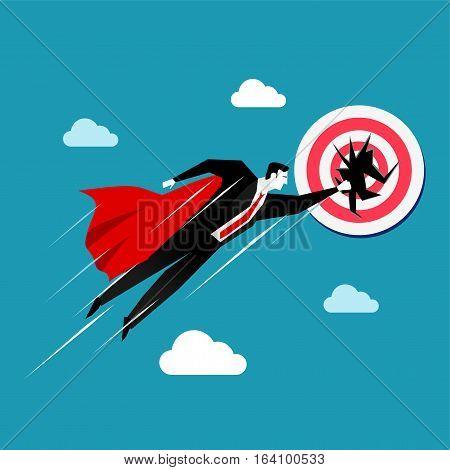 Flying businessman destroys the target. Business target concept.