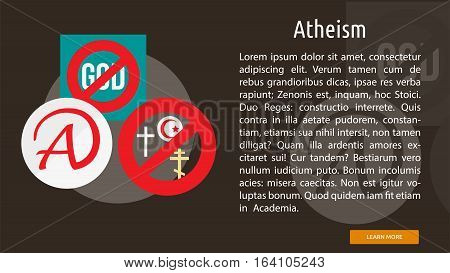Atheism Conceptual Banner | Great flat illustration concept icon and use for Religious, event, holiday, celebrate and much more.