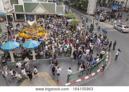 BANGKOKTHAILAND - DEC 31 : massive of Unidentified crowd in Erawan shrine at Ratchaprasong Junction while new year festival on december 31 2016 Thailand.