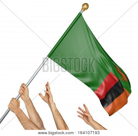 Team of peoples hands raising the Zambia national flag, 3D rendering isolated on white background