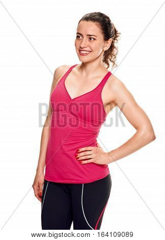 Portrait beautiful young athletic girl on a white background