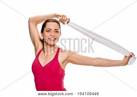 Fitness woman portrait isolated on white background. Smiling happy female fitness model
