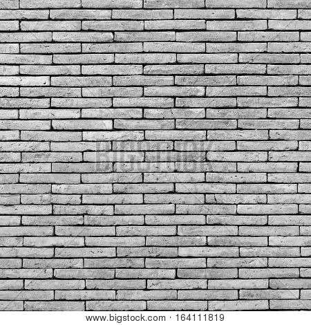 Closeup black and white brick texture and brick background. Grunge retro vintage of brick wall. Part of old brick wall for design with copy space for text or image.