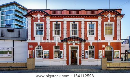 Wellington, New Zealand - Oct 30, 2015: Circa Theatre occupies the Westport Chambers building, designed of the Victorian-style architecture. This is home to the performing arts, not far from the Wellington Waterfront Walk area.
