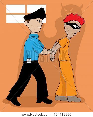 Wicked Prisones Arrested by Police Cartoon Illustration