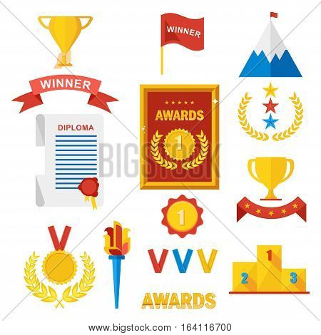 Set of gold award winner. Prize for first place in competitions in sport business and study. Podium medal diplom and cup. Flat vector cartoon illustration. Objects isolated on white background.