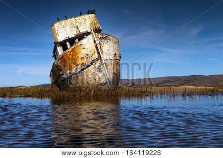 Old abandoned ship wreck in Inverness CA. Close to Point Reyes.