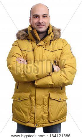 Guy Wearing A Yellow Winter Jacket