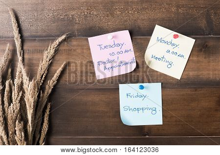 Message Or Schedule Time To Do On Paper Note With Pins