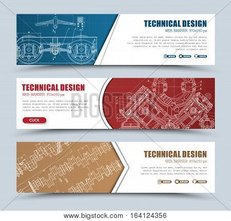Templates Banners  Red, Blue And Brown With Technical Drawings,