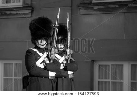 Copenhagen, Denmark - November 11, 2016: Two memebers of the Danish Royal Guard at Amalienborg Palace on a cold winter day