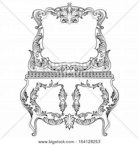 Fabulous Baroque Console Table and Mirror frame set. Vector French Luxury rich carved ornaments. Victorian wealthy Style furnitures
