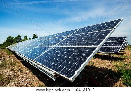 Solar panel photovoltaic alternative electricity source - selective focus copy space