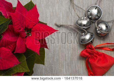 Still life close-up heap of festive Christmas jingle bells together