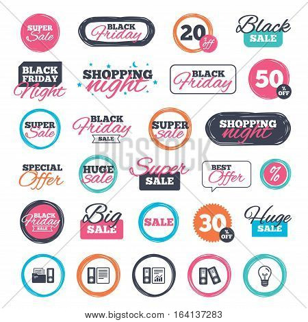 Sale shopping stickers and banners. Accounting report icons. Document storage in folders sign symbols. Website badges. Black friday. Vector