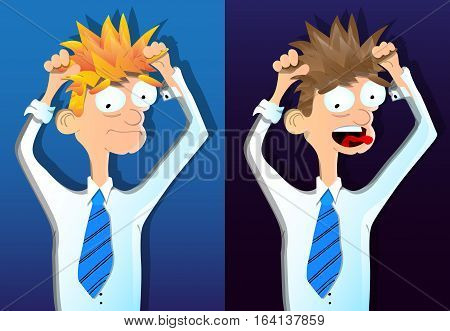 Two vector illustrated cartoon young depressed businessmen.