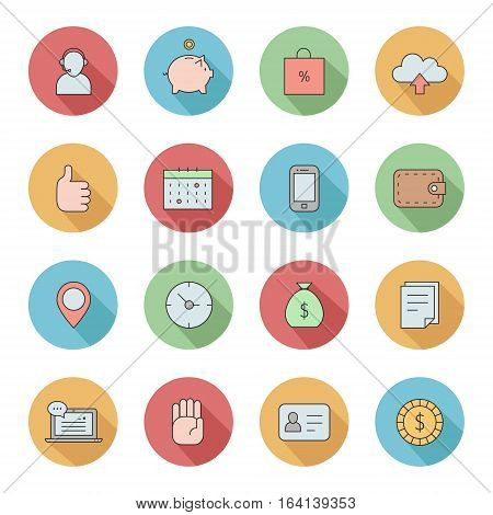 Outline business circle icons vector set. Clean and simple design. Part three.