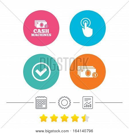 ATM cash machine withdrawal icons. Click here, check PIN number, processing and cash withdrawal symbols. Calendar, cogwheel and report linear icons. Star vote ranking. Vector