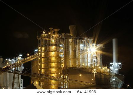 Queensland Industry at Night near Rockhampton Queensland Australia