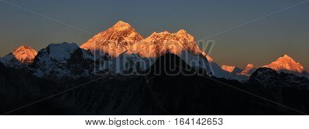 Sunset view from Gokyo Ri. Mount Everest Nuptse and other high mountains.