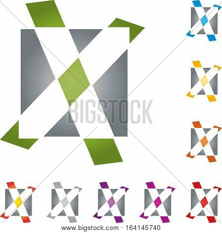 Checkmark and rectangle, X, cube, sign and checkmark illustration
