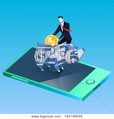 Vector illustration of businessman putting coin into rhino money box, standing on mobile. Rhinoceros symbol of direct sales. Finance, business success, savings concept design element in flat style