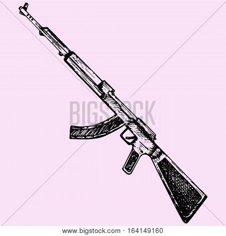 Kalashnikov assault rifle doodle style sketch illustration hand drawn vector