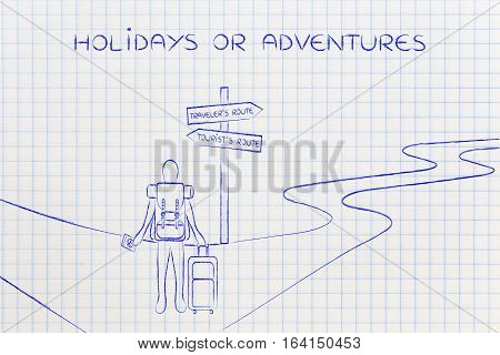 Traveler Or Tourist: Person With Backpack And Bag At Crosspath