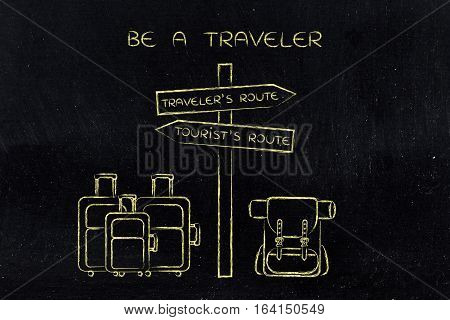 Traveler Or Tourist: Crosspath With Road Sign And Bags