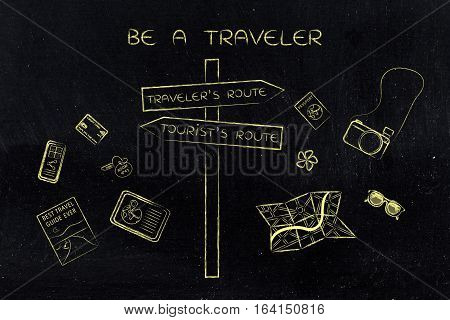Traveler Or Tourist's Route: Crosspath Road Sign And Mixed Objects