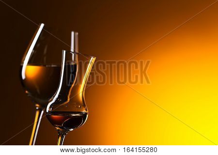 Closeup Of Glasses With White Wine ,free Space For Your Text