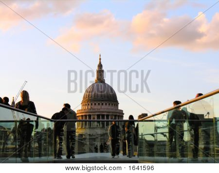 Saint Paul'S Cathedral And Millenium Bridge London