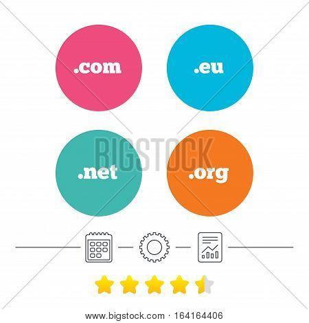 Top-level internet domain icons. Com, Eu, Net and Org symbols. Unique DNS names. Calendar, cogwheel and report linear icons. Star vote ranking. Vector