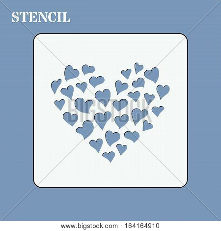 Stencil template for diy. Small hearts make big heart shape. It can be used for laser cutting or punching. Stencil for paper plastic wood laser cut acrylic