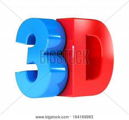 3D sign. Isolated on white background. 3D illustration. 3D rendering