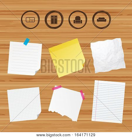 Business paper banners with notes. Furniture icons. Sofa, cupboard, and book shelf signs. Modern armchair symbol. Sticky colorful tape. Vector