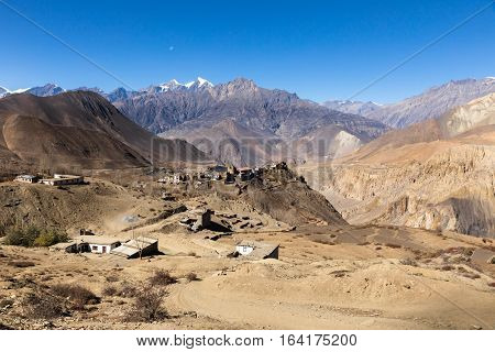 View on the Jharkot village, lower Mustang Nepal.