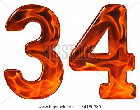 34, Thirty Four, Numeral, Imitation Glass And A Blazing Fire, Isolated On White Background