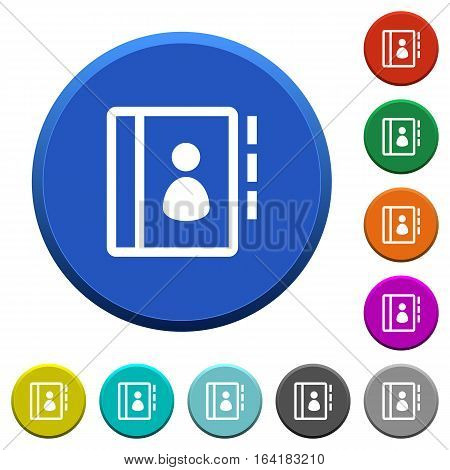 Contacts round color beveled buttons with smooth surfaces and flat white icons