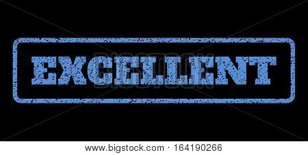 Blue rubber seal stamp with Excellent text. Vector tag inside rounded rectangular banner. Grunge design and dust texture for watermark labels. Horisontal emblem on a black background.