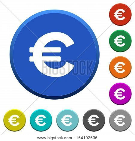 Euro sign round color beveled buttons with smooth surfaces and flat white icons