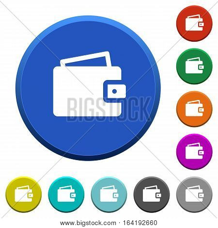 Wallet round color beveled buttons with smooth surfaces and flat white icons