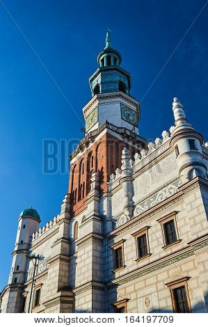 The tower of the Renaissance town hall in Poznan Poland