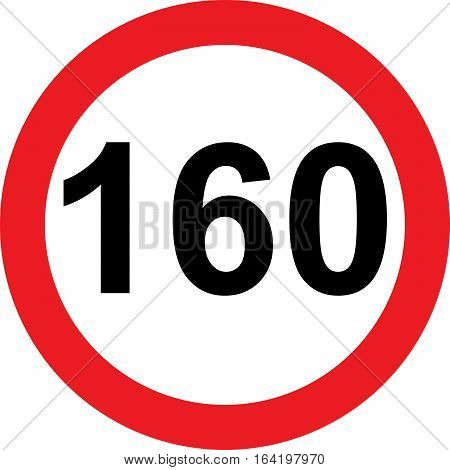 160 speed limitation road sign on white background