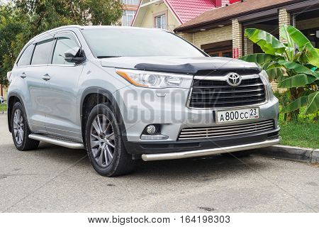 Sochi, Russia - October 11, 2016: New Toyota Highlander (Kluger) parked on the street of Sochi City.