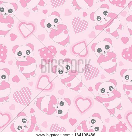 Seamless background of Valentine's day illustration with cute baby pink panda and love shape on pink background suitable for Valentine's day scrap paper, wallpaper and wrapping paper