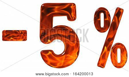 Percent Off. Discount. Minus 5, Five  Percent, Numerals Isolated On White Background