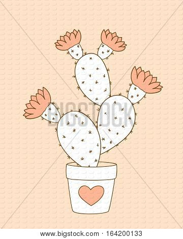 Valentine card with doodle cactus in the flower pot. Image for invitation save date wedding romantic holiday print for decorate t-shirt tunic bag dishes. eps 10.